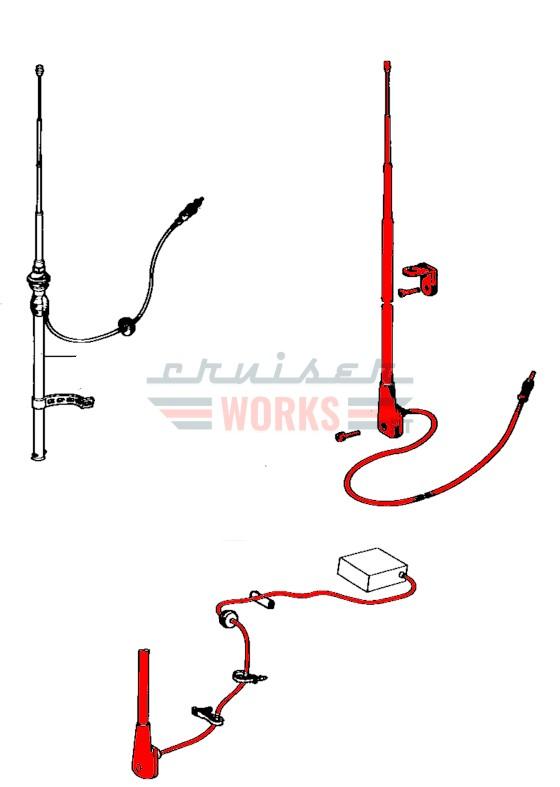 Antena extensível aplicação no painel lateral